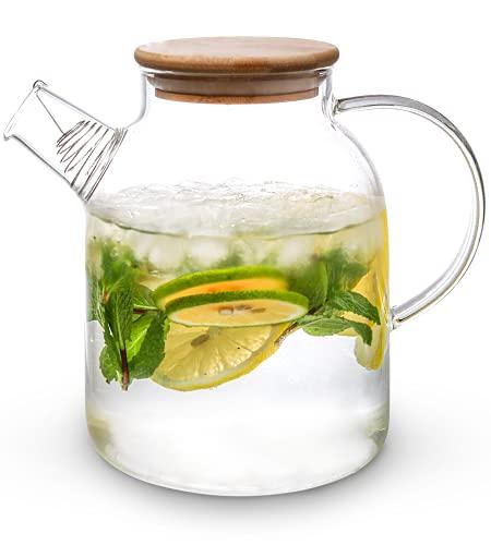 Teekanne Glas mit Bambus Deckel 1,5 Liter - Filter im Auslauf - Spülmaschinenfest - Glaskanne für Kalte/Heiße Getränke