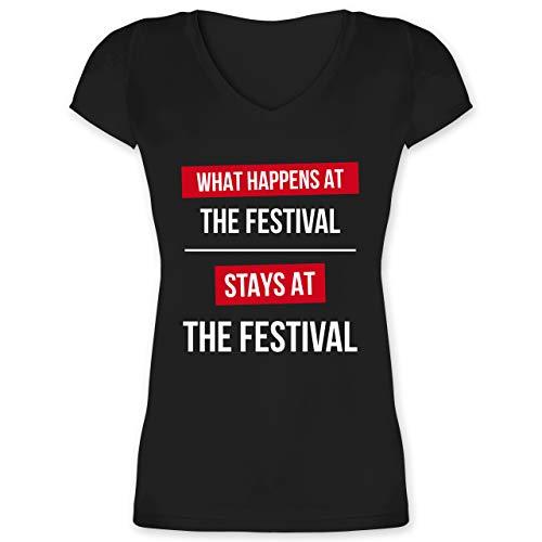 Festival - What Happens on The Festival Stays at The Festival - 3XL - Schwarz - Damen t Shirt mit v Ausschnitt Festival - XO1525 - Damen T-Shirt mit V-Ausschnitt