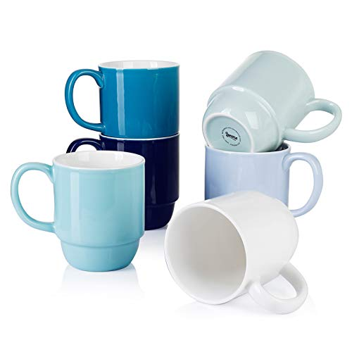 Sweese 609.003 Stackable Mug Set - 21 Ounce Large Coffee Mugs for Coffee, Tea, Hot Cocoa, Set of 6, Cool Assorted Colors