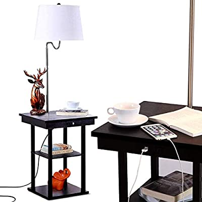 Brightech Madison LED Floor Lamp Swing Arm Lamp w/ Shade & Built In End Table & Shelf, Includes 2 USB Ports & 1 US Electric Outlet – Bedside Table Lamp for Bedroom & Side Table Lamp for Living Room