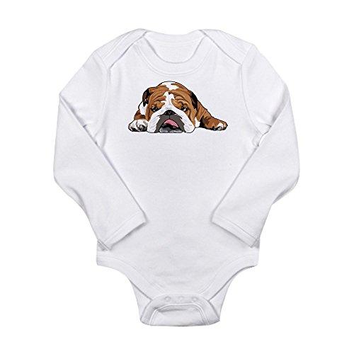 CafePress Teddy The English Bulldog Body Suit Cute Long Sleeve Infant Bodysuit Baby Romper Cloud White