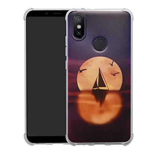 HHDY Xiaomi Mi A2 Funda, Pintura Ultrafina Suave TPU Silicona Diseño de Bumper Cojín de Aire Protección Cover para Xiaomi Mi A2 / Mi 6X,Sailboats & Moon