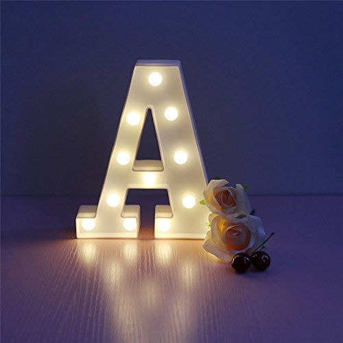 CSKB LED Marquee Letter Lights 26 Alphabet Light Up Marquee Letters Sign for Wedding Birthday Party Battery Powered Christmas Night Light Lamp Home Bar Decoration A