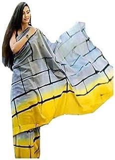 FEMEZONE Women's Woven Cotton Printed Saree With Blouse Piece (FEM1882819_Indigo)