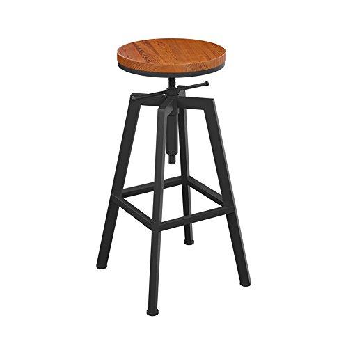 Tabouret de Bar LOFT Tabouret De Bar Minimaliste Tabouret De Bar en Fer Forgé Tabouret De Bar en Bois Massif Tabouret Rotatif Rond Chaise De Bar Moderne Peut Lever L'ascenseur (Couleur : A)