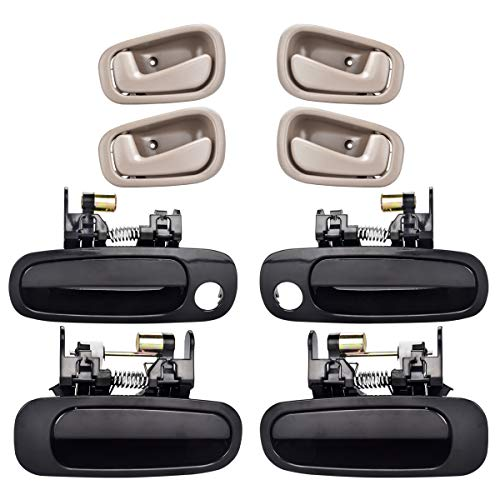 FAERSI 8Pcs Exterior Interior Door Handles Front and Rear Left Driver Side & Right Passenger Side Door Handle Replacement Set for 1998 1999 2000 2001 2002 Toyota Corolla Chevy Prizm