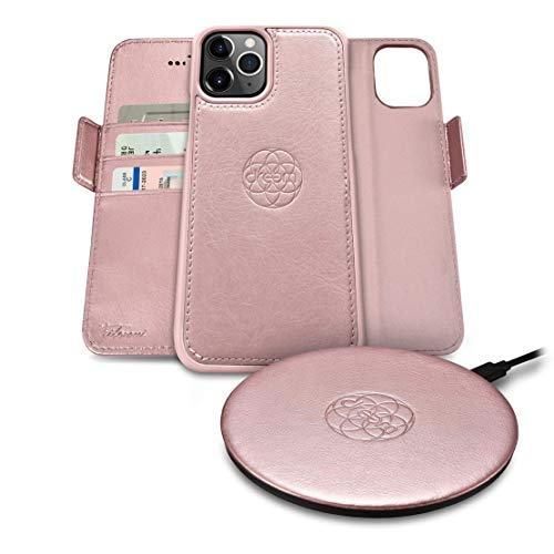 Dreem Bundle: Fibonacci Wallet-Case for iPhone 12 & 12 Pro and Beam Wireless Charger - Rose & Rose