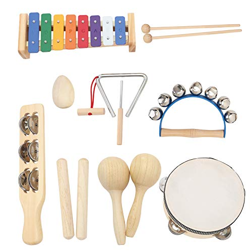 MUSICUBE Musical Instrument Set for Toddler Baby Kid Wooden Percussion Instrument Musical Toys Xylophone Maracas Egg Shaker Tambourine Triangle Instrument for Boys Girls Aged 3+ Choice