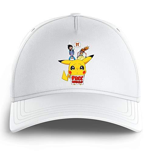 OKIWOKI Grappige Pokémon Parodies Witte Kid Cap - Pikachu - Gratis Knuffels (Pokémon Parodies Parody) (Ref:876)