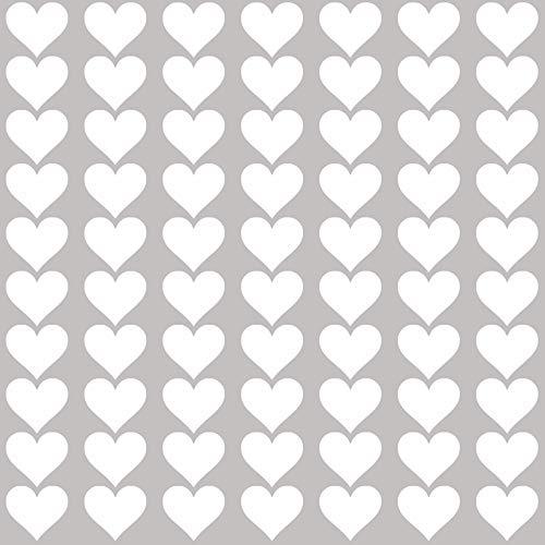 PREMYO 70 Herzen Wandsticker Kinderzimmer Mädchen Jungen - Wandtattoo - Wandaufkleber Selbstklebend Weiß