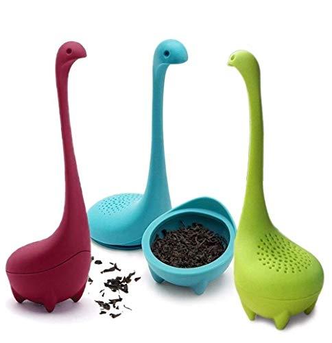 JDD RebirthTree 3 Stücke Nessie Teefilter,Silikon Tee Infuser mit Langem Griff und Sieb für Lose Blätter Tee, Kräuter usw (blau,grün und lila)