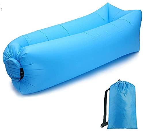 エアーソファー エアベッド エアマット アクッション ビーチベッド 軽量 防水 超簡単便利 耐荷重200kg 収納袋付き アウトドア 海 キャンプ 登山などに対応 (ブルー)