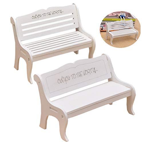 mengger Miniatur Bank Gartenbank, 2 stücke Miniatur Garten Patio Furniture Holz Stuhl Micro Landschaft Gartenmöbel Dekoration für Puppenstube DIY Verzierungen Fotografie Requisiten Mini Bank