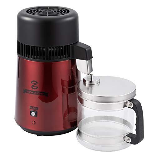 CO-Z Destilador de Agua Purificador de Agua Doméstico 4L Destilador de Agua de Acero Inoxidable 750W con Jarra de Filtro Destilación de Agua con Botella de Colección (Rojo)