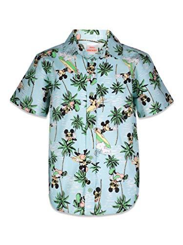 Disney Mickey Mouse Little Boys Hawaiian Shirt Button Down Short Sleeve Aloha 5/6
