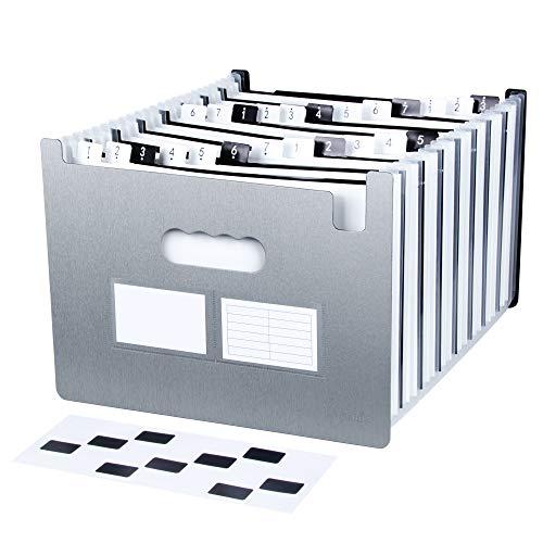 Uquelic Klaviertaste Fächermappe A4 24 Taschen Datei Organizer A4 Kunststoff Dateiordner A4 Grosse Kapazität Dokumentenmappe A4 Erweiterbar Akkordeon Dateiordner A4 mit mehr verdickter Schale