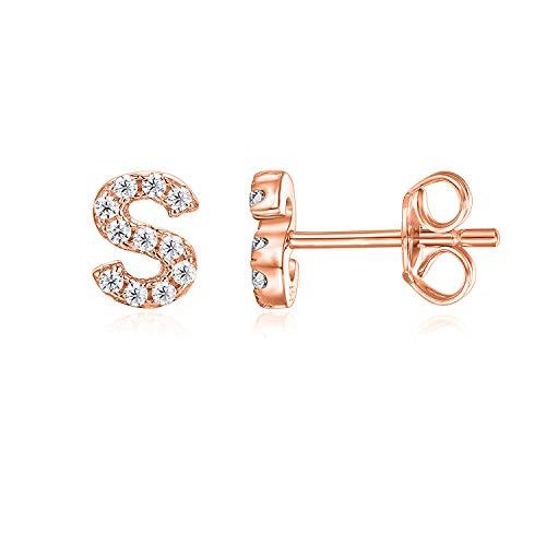 PAVOI 14K Rose Gold Plated Sterling Silver CZ Alphabet Letter Earrings | Initial Earrings for Girls | Letter S