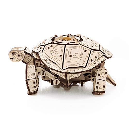 EWA Eco-Wood-Art Turtle 3D Holzpuzzle für Jugendliche und Erwachsene-Mechanisches Schildkröte Modell-DIY-Bausatz, Selbstmontage, kein Kleber erforderlich-269 Stück, Natürlich