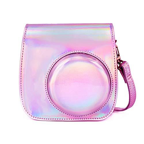 Leebotree Sofortbildkameras Tasche Kompatibel mit Instax Mini 11 Sofortbildkamera aus Weichem Kunstleder mit Schulterriemen und Tasche (Magisches Rosa)