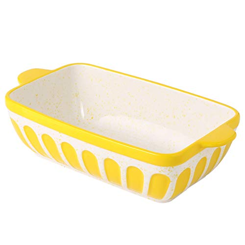 Hand Painted Ceramic Loaf Pans Bread Baking Dish Toast Baking Pan for Baker Home Kitchen -Yellow