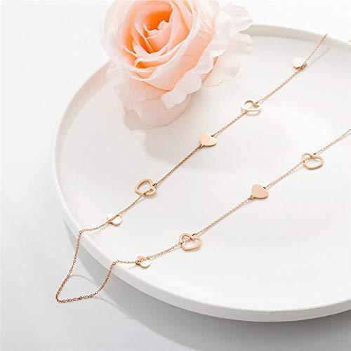 JIAJIA Dames Meerdere Hartjes Bedel Roestvrij Staal Lange Ketting Elegante Rose Gouden Trui Ketting Feest Bruiloft Sieraden