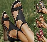 ZXCVB 2021 Sandalias de cuña Mujeres, Sandalias de Tobillo de Tobillo Sexy con Cremallera, Plataforma para Mujer Sandalias Casual Comfort Caminando Sandalia