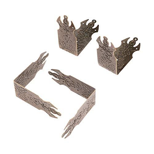 Rechtwinklige Halterung aus Metall 4Pcs 69mm Eisen Dekorative Antik Schmuck Wein-Kasten-hölzernen Fall Corner Schutz-Schutz-Bronze Verzieren Sie Ihren Schreibtisch