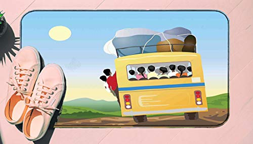 DIIRCYB Door Mat Indoor Outdoor Non-Slip Washable Doormat,Yellow Bus Full Of Passengers And Luggage Driving In Asian Meadows Warm Spring Day,Diy Cropping Rug,For Home Kitchen Bedroom Bathroom Floor Ca