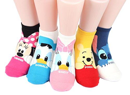 Disney Mug Sneakers Women's Socks 6 pairs Made in Korea (Micky,Minie,Donald,Daisy,Pooh,stitch)