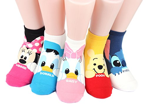 Disney Mug Sneakers Women's Socks 6 pairs Made in Korea (Micky,Minie,Donald,Daisy,Pooh,stitch)