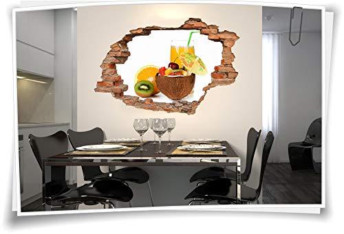 Medianlux 3D muurschildering muurtattoo muursticker cocktails Orange Kiwi kokosnoot sap