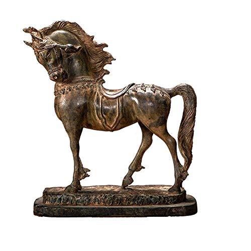 IUYJVR Decorative Horse Statue, Bronze Horse Sculpture, Metal Horse Handicraft, Vintage And Old Horse Ornaments, Collection Art H31cm