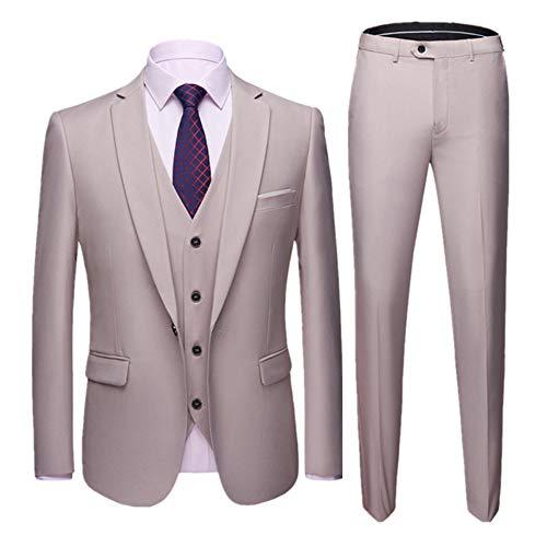 Herren Anzug Slim Fit 3 Teilig mit Weste Sakko Anzughose Business Hochzeit Party Smoking Champagner L