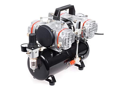Airbrush Hobby vierkolben Kompressor Fengda® AS-48A mit Druckbehälter