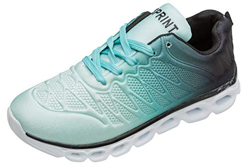 gibra Damen Sportschuhe Sneakers Turnschuhe für die Turnhalle geeignet, sehr leicht, Art. 6947, türkis, Gr. 38