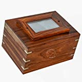 Hind Handicrafts Rosewood Brass Inlaid Wooden Cremation Urns for Human Ashes Adult - Handcrafted Photo Funeral Memorial Ashes Urn - Large Columbarium