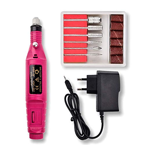 ASDAD Outil Rotatif Kit D'accessoires avec Têtes Interchangeables à 6 Pièces Outil Multi-Usage De Charge à 3 Vitesses Et De Chargement USB pour Projets Légers Et Délicats De Bricolage,Pink