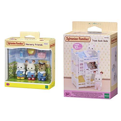 Sylvanian Families 5262 Kindergartenfreunde - Figuren für Puppenhaus & 4448 Dreistöckiges Babyhochbett - Puppenhaus Einrichtung Möbel