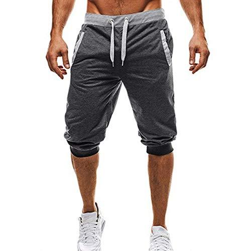 Loeay Pantalon de Jogging pour Hommes Confortable à Cinq Branches, Longueur au Genou, Pantalon décontracté, Pantalon de survêtement, Coupe Slim, Pantalon de Fitness, Homme, Capri, Gris foncé M