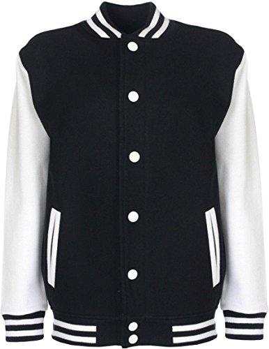 College-Jacke/Freizeitjacke - für Damen und Herren Farbe Schwarz/Weiß Größe M