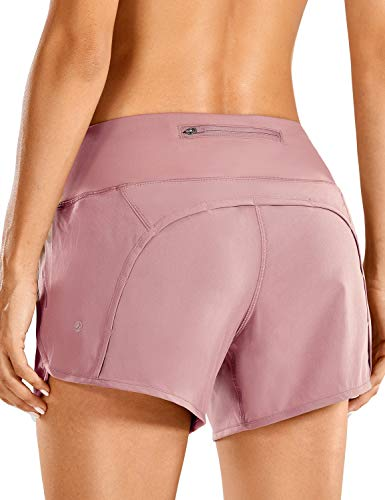 CRZ YOGA Women's Quick-Dry Athletic Sports Running Workout Shorts with Zip Pocket - 4 Inches Figue 4''-R403 XX-Small