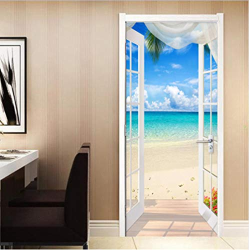 WAFJJ 3d door stickers murals beach Creative 3D Wall Self Adhesive Sticker Decal Art Decor Removable Waterproof Mural Poster Scene Window Door Room Nursery 77x200cm