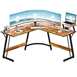 Cubiker Modern L-Shaped Desk Computer Corner Desk, PC Laptop Writing Study Desk for Home Office Wood & Metal, Rustic Brown