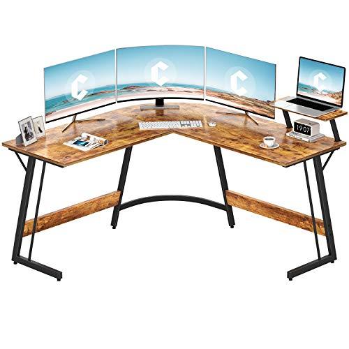 Cubiker Modern L-Shaped Desk Computer Corner Desk PC Laptop Writing Study Desk for Home Office Wood Metal Rustic Brown