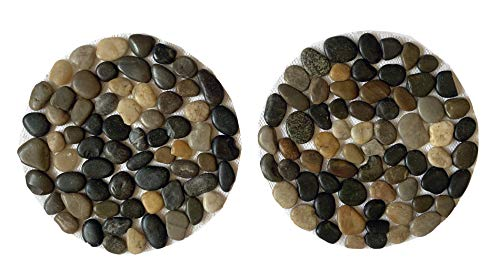 Eco-Barn River Pebbles Round Stepping Stones - Set of 2