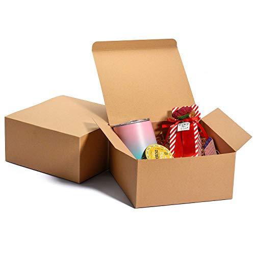 Switory 12Pcs Geschenkboxen mit Deckel, 20x20x10cm Wahre Farbe, Geschenkboxen aus Kraftpapier zum Basteln, Brautjungfern-Vorschlagsboxen aus Pappe, weiße Hochzeitsbevorzugung