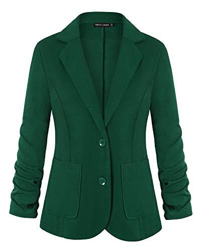 Unifizz Women Blazer Jacket Suit Casual Work Office Blazer for Women Boyfriend Open Front Basic Suit Jackets Deep Green XXL