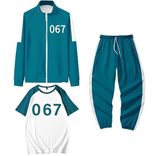 Disfraz de juego de calamar, 3 piezas de juego de calamar 067 disfraz de cosplay con cremallera, chaquetas de pantalones 001 456, disfraz unisex de Halloween Cosplay