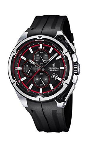 Festina-Chrono 2015-Orologio da uomo al quarzo con Display con cronografo e cinturino in gomma, colore: nero, F16882/8