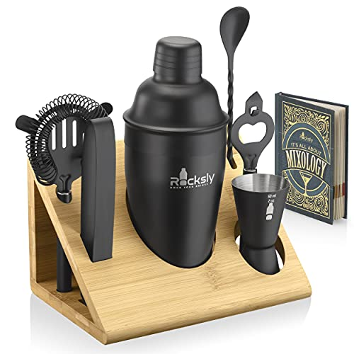 Mixology Bartender Kit and Cocktail Shaker Set for Drink Mixing | Mixology Set with 6 Bar Set Tools and Bamboo Stand Makes It the Perfect Home Cocktail Kit | All You Need For Your Bartender Tool Kit